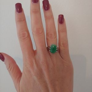 Emerald Natural Stone Silver Oval Ring Size 7